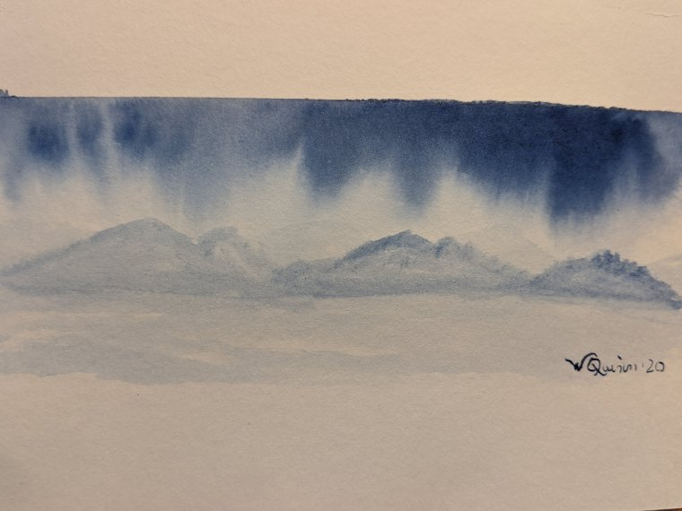 Monotone blue painting of clouds hanging low over a mountain scape