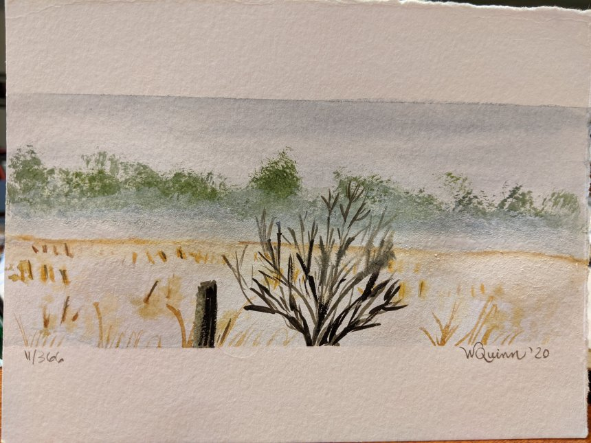 Watercolour painting foggy bush at edge of snow covered field