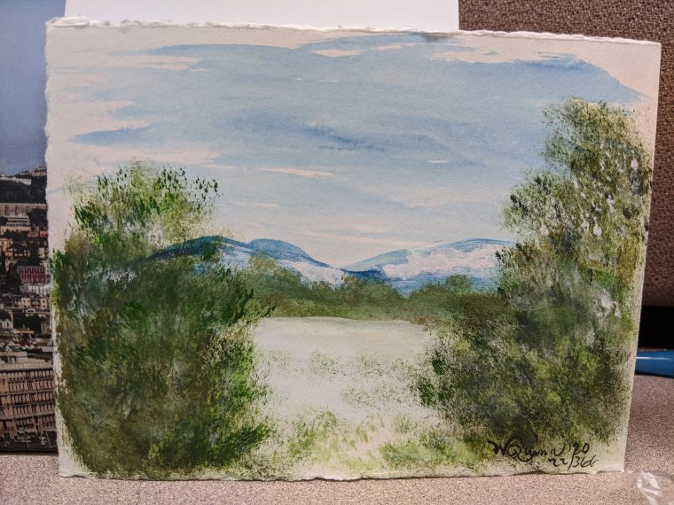 Watercolour painting landscape mountains and trees