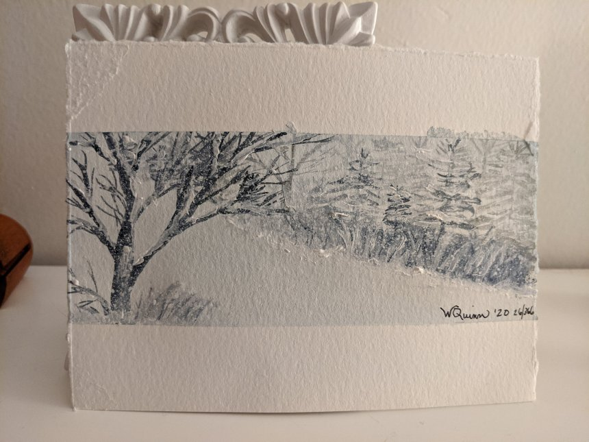 Watercolour landscape of trees covered in snow.
