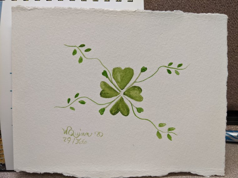 Hearts connected in the middle to form a type of clover, then branch out with more clovers